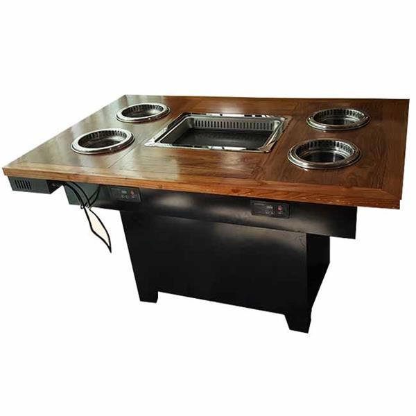 一人一锅实木台面智能无烟火锅桌