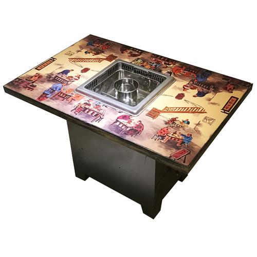 复古风格大理石下沉式无烟火锅桌