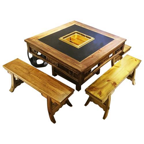 大龙焱/巴奴仿古实木新中式无烟净化火锅桌子